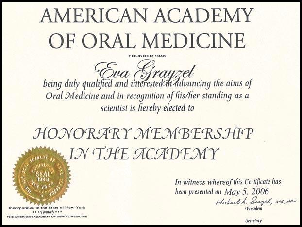 Honorary Membership American Academy of Oral Medicine