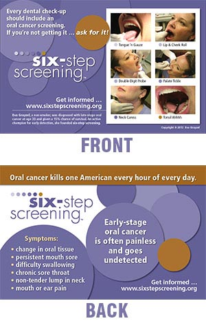 Six Step Oral Cancer Screening Postcard